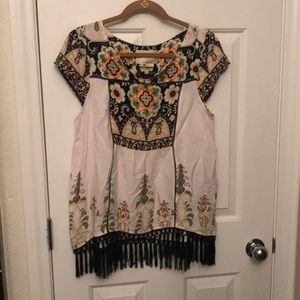 Anthropologie fringe blouse
